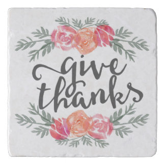 Give Thanks | Watercolor Floral Thanksgiving Trivet