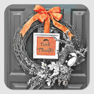 Give Thanks Wreath Square Sticker