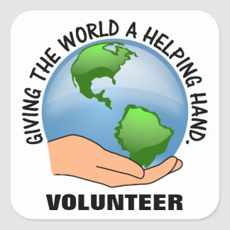 Give the world a helping hand and volunteer square sticker