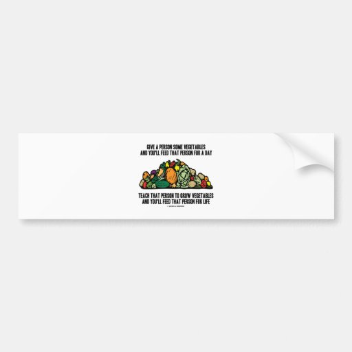 Give Vegetables Feed Person For A Day Grow Life Bumper Sticker