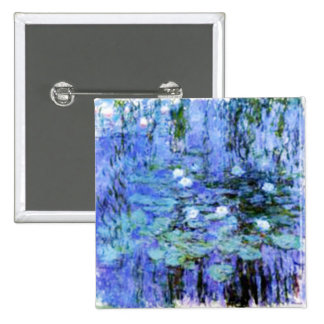 giverny lily pond by the master Monet 15 Cm Square Badge