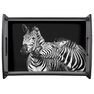 Gives-a-kiss-zebras Serving Tray