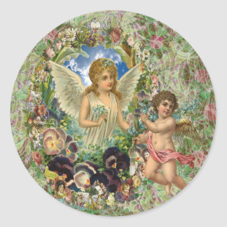 Giving - Cupid brings an Angel Flowers Classic Round Sticker
