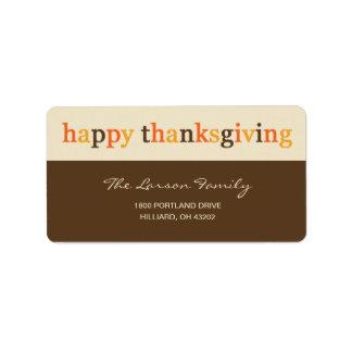 Giving Thanks Thanksgiving Address Label
