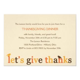 "Giving Thanks Thanksgiving Dinner Invitation 5"" X 7"" Invitation Card"