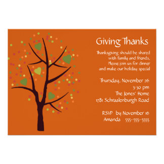 Giving Thanks Thanksgiving Dinner Party Personalized Announcement