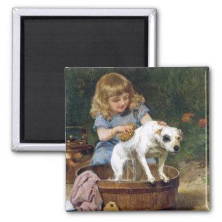 Giving the Dog a Bath - Vintage Dog Art Magnet