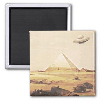 Giza Spaceship Square Magnet