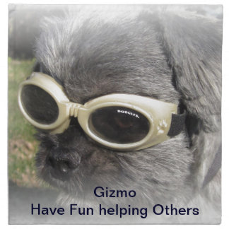 Gizmo the Dog that Helps others Cloth Napkins
