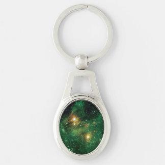 GL490 Green Gas Cloud Nebula Silver-Colored Oval Metal Keychain