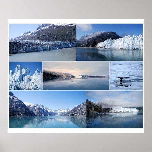 Glacier Bay Alaska Collage 24 x 20 Poster
