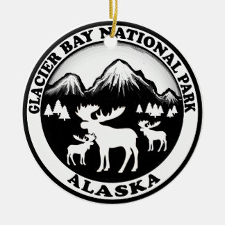 Glacier Bay National Park Alaska moose circle Christmas Ornament