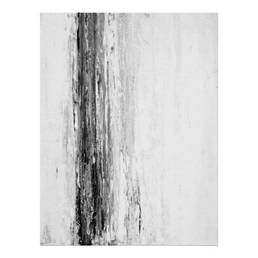 'Glacier' Black and White Abstract Art Poster