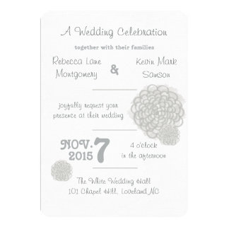 """Glacier Gray Hydrangea Wedding Invitation 5"""" X 7"""" Invitation Card"""