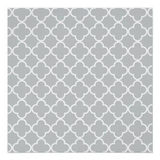 Glacier Gray White Quatrefoil Moroccan Pattern