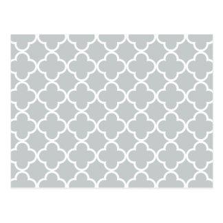 Glacier Gray White Quatrefoil Moroccan Pattern Postcard