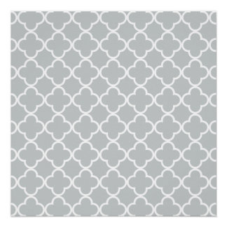 Glacier Gray White Quatrefoil Moroccan Pattern Poster