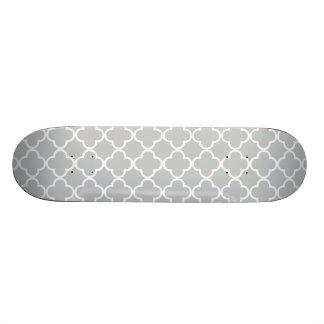 Glacier Gray White Quatrefoil Moroccan Pattern Custom Skateboard