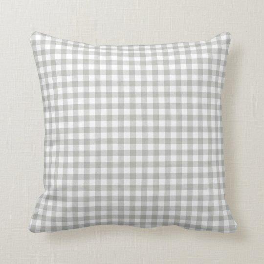 Glacier Grey Gingham Pattern Throw Pillow