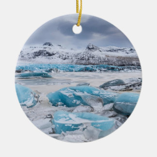 Glacier Ice landscape, Iceland Round Ceramic Decoration