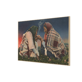 Glacier, MT - Two Blackfoot Natives Smoking Gallery Wrapped Canvas