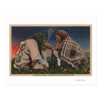 Glacier, MT - Two Blackfoot Natives Smoking Postcard
