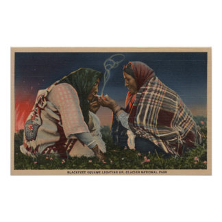 Glacier, MT - Two Blackfoot Natives Smoking Poster