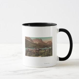 Glacier, MT - View of Chalets & Lake St. Marys Mug