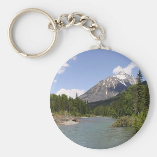 Glacier Park Rivers and Peaks Basic Round Button Key Ring