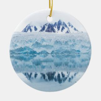 Glacier reflections, Norway Round Ceramic Decoration