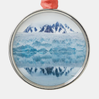 Glacier reflections, Norway Silver-Colored Round Decoration