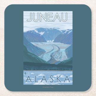 Glacier Scene - Juneau, Alaska Square Paper Coaster
