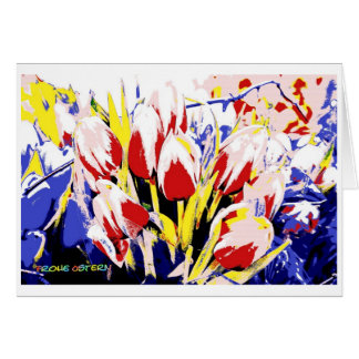 Glad Easter map with tulips Greeting Card