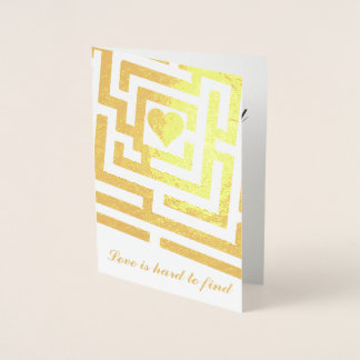 Glad I Found You Romantic Heart in Maze Foil Card