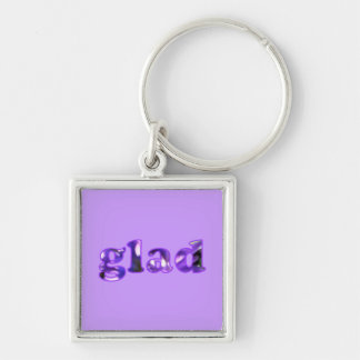 Glad spelled with purple flowers keychains