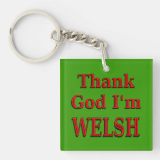 Glad to be Welsh Double-Sided Square Acrylic Key Ring