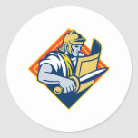 Gladiator With Sword And Shield Round Sticker