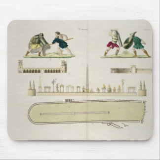 Gladiators and a plan of the circus of Caracalla, Mouse Mat