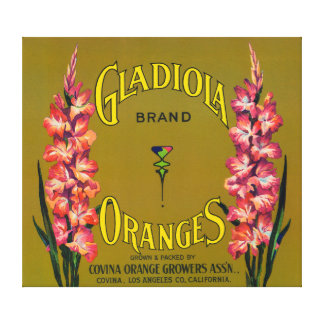 Gladiola Brand Citrus Crate Label Canvas Print