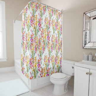 Gladioli Floral Watercolor Shower Curtain