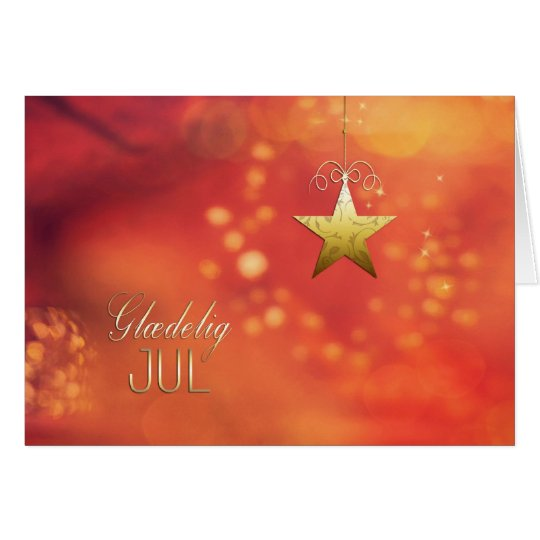 Glædelig jul, Merry Christmas in Danish, Star Card