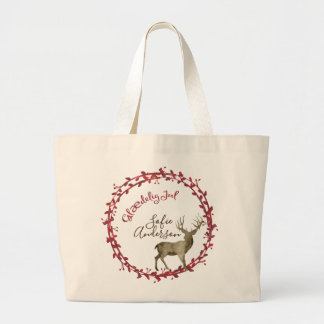 Glædelig Jul Watercolor Christmas Wreath Large Tote Bag