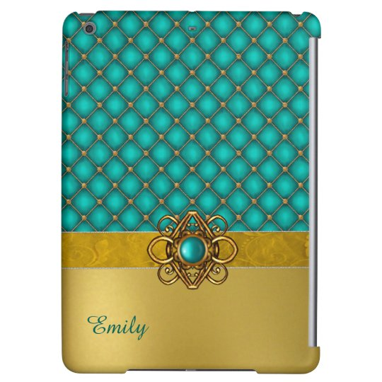 Glam Aqua and Gold iPad Air Case