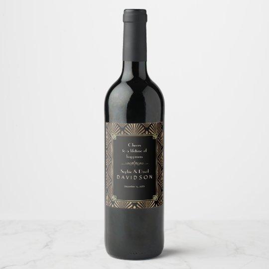 0bcd06f05fa18f Glam Art Deco Black Gatsby 1920s Style Wedding Wine Label | Zazzle.co.uk