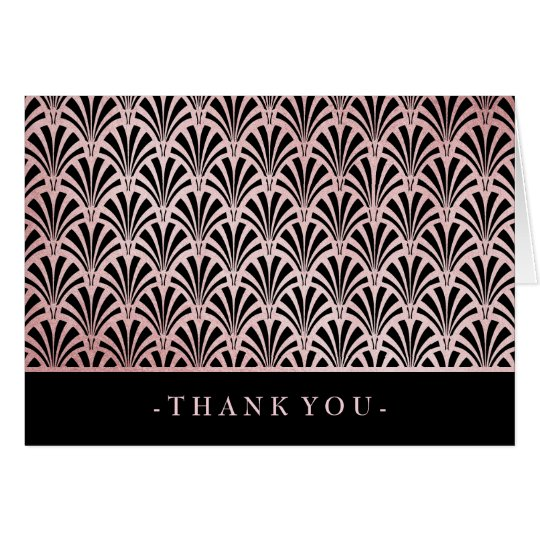 Glam Art Deco Rose Gold and Black Fans Thank You Card