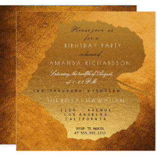 Glam Autumn Fall Golden Leaves Birthday Party 13 Cm X 13 Cm Square Invitation Card