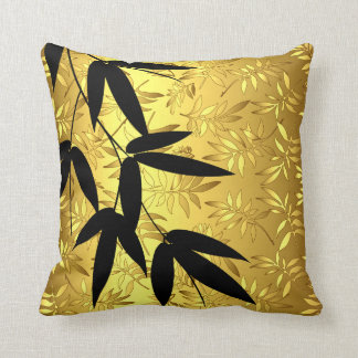 Glam Bamboo Leaves Gold Foil | gold Cushion