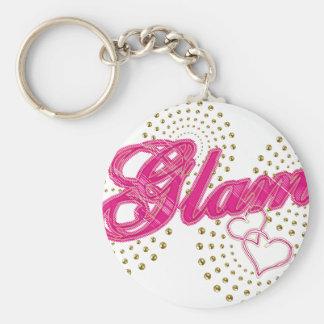 glam basic round button key ring
