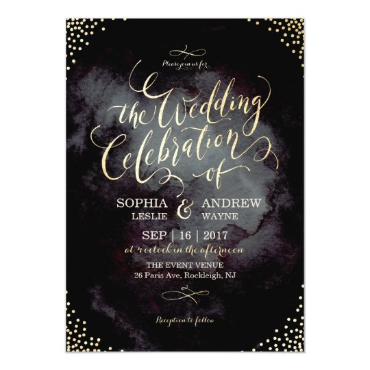 Glam black faux gold glitter calligraphy wedding card
