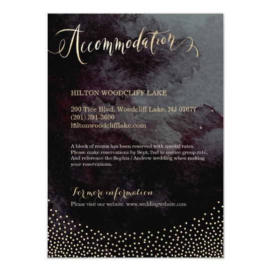Glam black gold glitter calligraphy accommodation card